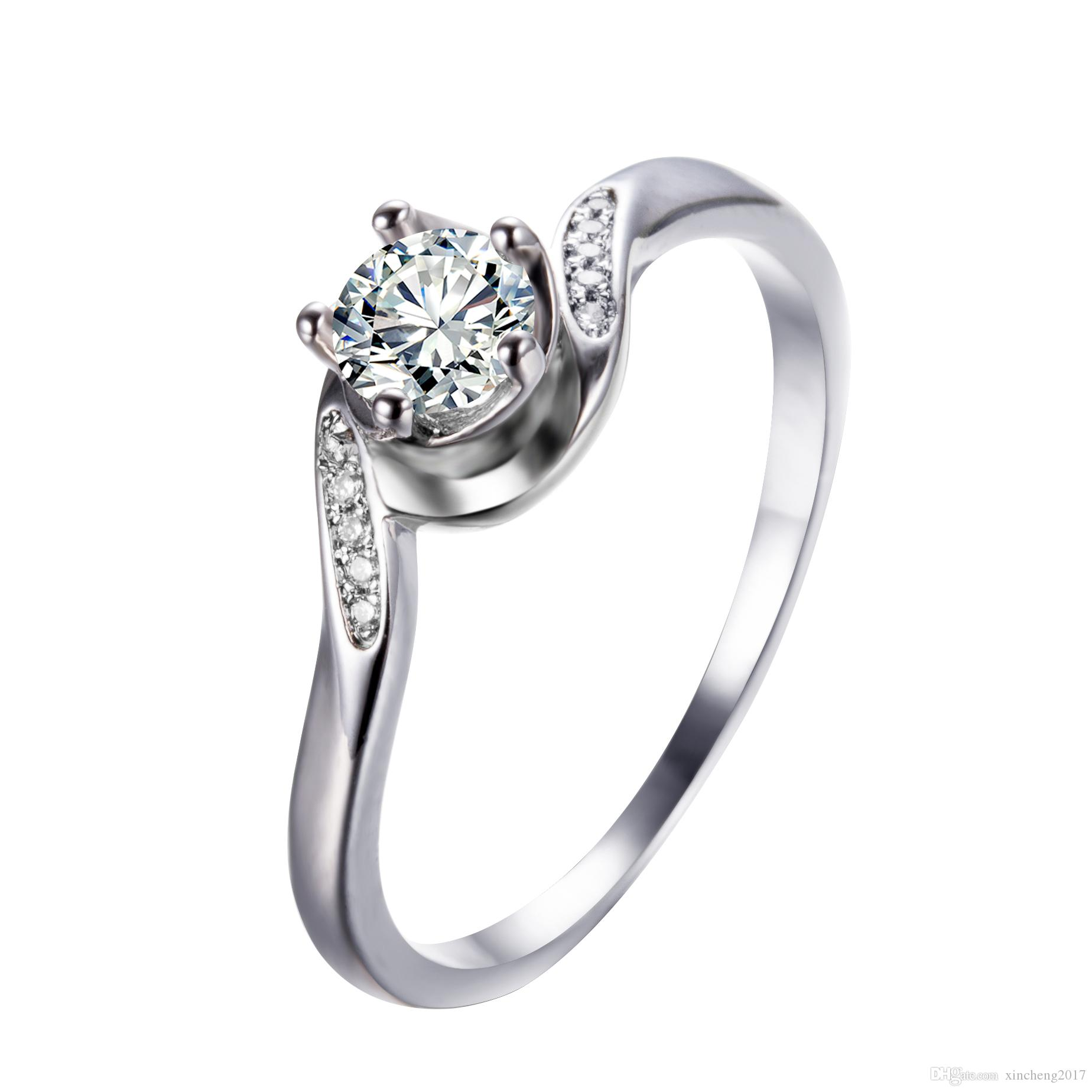 2019 Junxin Simple Female Round Ring 2017 New Fashion White Gold