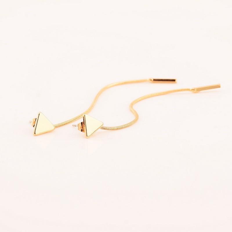 New Simple Long Chain Nappa Triangolo Rame Orecchini le donne Carino Ear Studs Earing Jewelry Vendita diretta della fabbrica Spedizione gratuita B1187