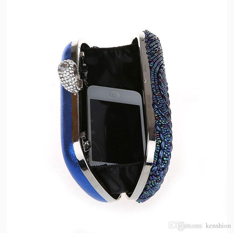 New Rhinestone Ring Bag Crystal Leaf Pattern Hand Beaded Evening Bag Beading Clutch Purse Stylish Leaves Handbag Knuckle box - S3978