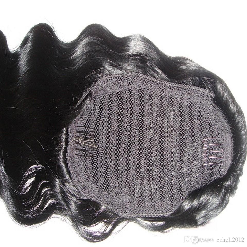 바디 웨이브 인모 헤어 포니 테일 클립 인 자연스러운 끈으로 묶은 브라질 버진 머리카락 포니 테일 헤어 익스텐션 자연 색상 140g
