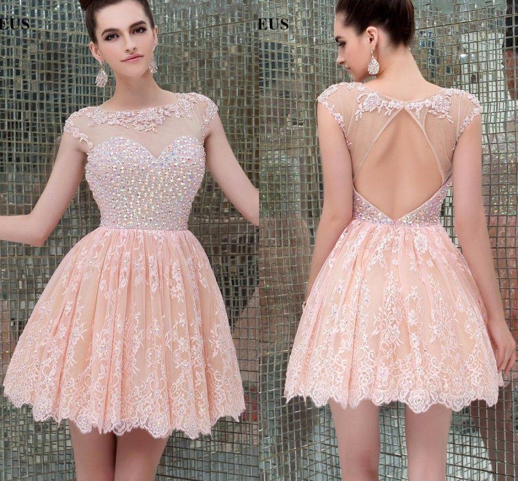 Cheap Lace Crystal Short Homecoming Dresses Sheer Jewel Neck Keyhole ...