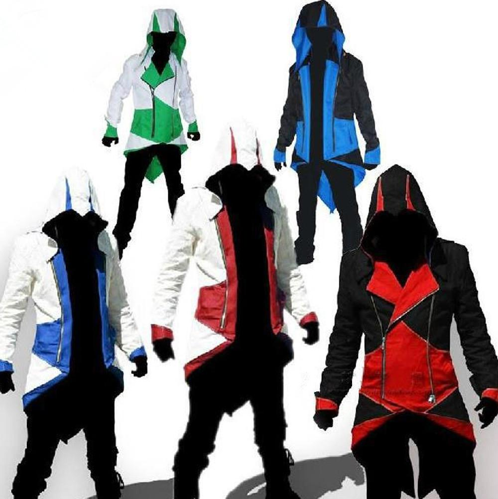 Assassins Creed 3 III Connor Kenway Hoodies Mens Coats Hooded Cosplay Jackets Plus Size Male Uniform Casual Coats COS Jackets XXS-5XL NEW