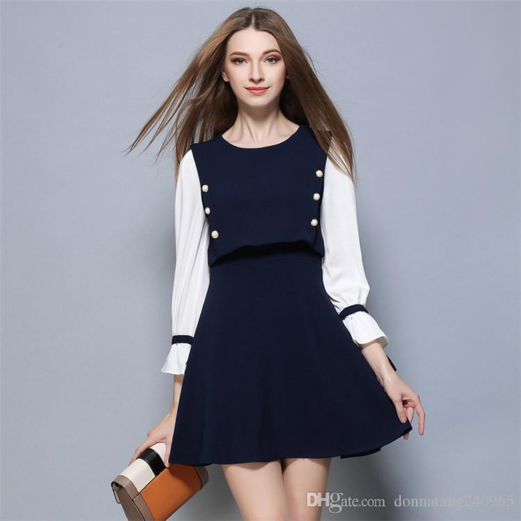 New Korean Version Long Sleeved Stitching Trumpet Sleeve Dress ...