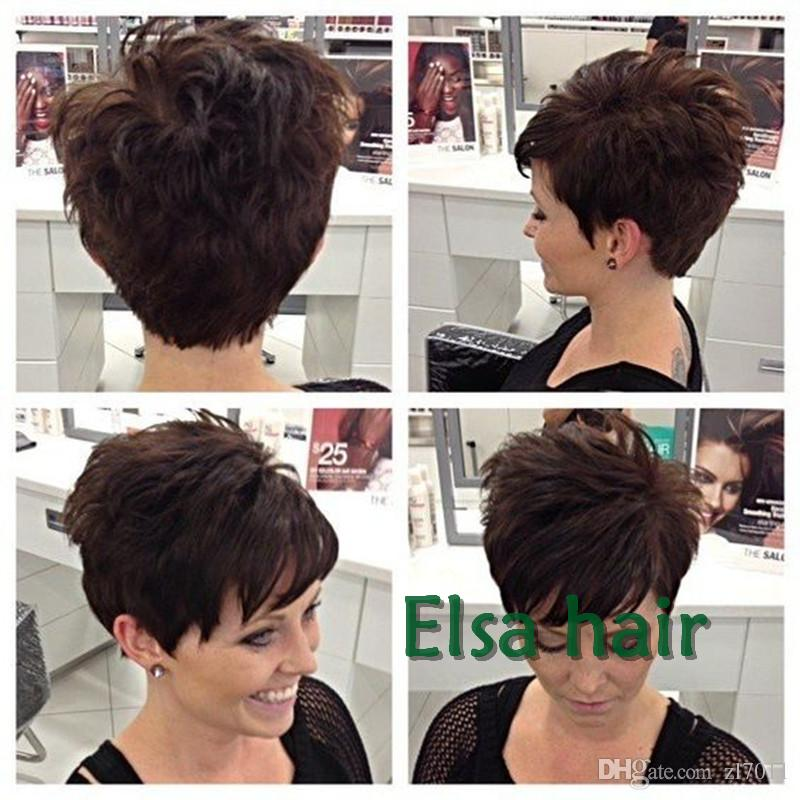 Human Hair Natural Wigs Pixie Cut Short Wig Adjustable Size Hair