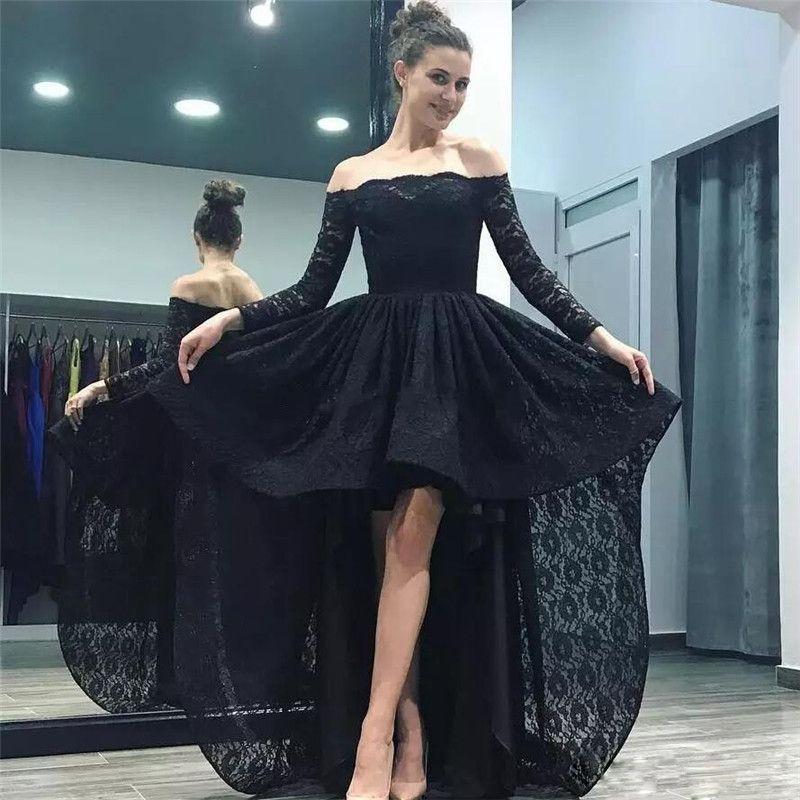749334be120 Großhandel Einfache Sexy Schwarz Hallo Lo Prom Kleider Off Schulter Lange  Ärmel Abendkleid Spitze Formale Party Kleid Vestido De Festa Von Cc bridal