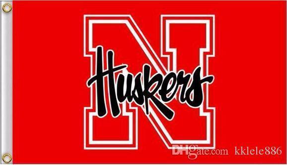 Bandeira de Nebraska Cornhuskers 90 x 150 cm poliéster NCAA Herbie Husker estrelas e listras Banner ao ar livre