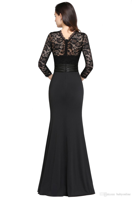 Designed Mermaid Long Sleeves Burgundy Evening Dresses 2020 Satin Lace Jewel Neck Zipper Back Floor Length Vestidos Mother Dresses CPS613