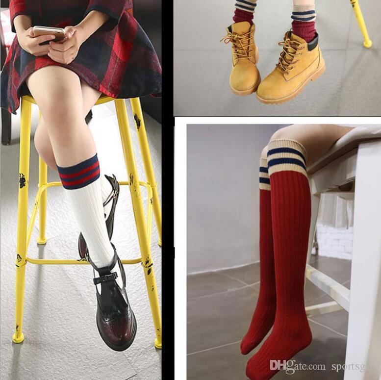 bc82b91ed7466 2019 Boys Girls Lite Knee High Socks Kids Stripe Rib Cuff Cotton Socks  Children Autumn Winter Knitted England Stockings From Sportsgril, $19.83 |  DHgate.Com