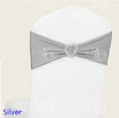 Hot Sale Silver Colour Spandex Sash Lycra Bands Stretch Elastic Chair Ribbon Sash With Love Heart Buckle Wedding Hotel Home Banquet Party