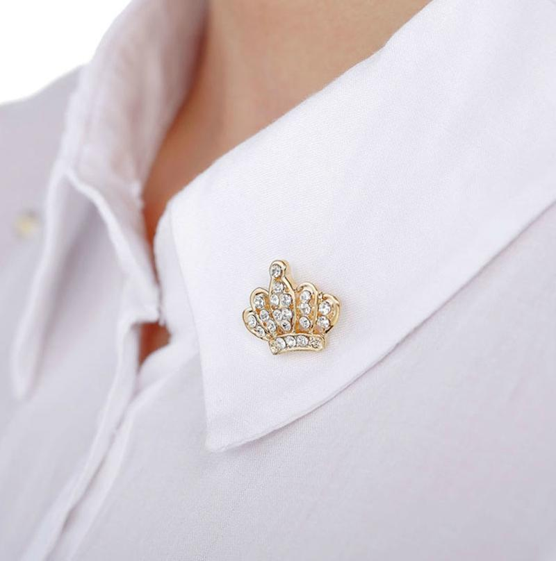 American couple Mini brooch full diamond crown thorn pin suit blouse brooch button