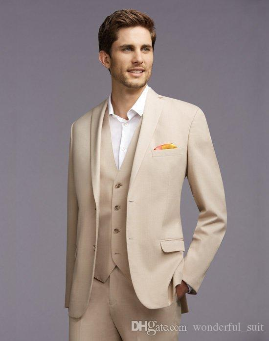 На заказ новое прибытие жених смокинги Notch отворотом мужской костюм шампанское жених/Шафер свадебные/выпускного вечера костюмыкуртка+брюки+галстук+жилет K20