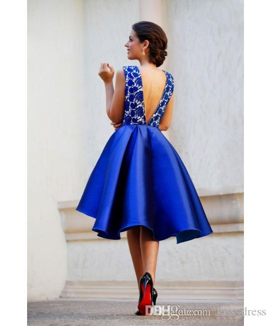 Sexy Royal Blue Short Prom Dresses Satin Deep V-Neck A-Line High Low Backless Lace Formal Evening Party Gowns 2019 Hot Selling New P201