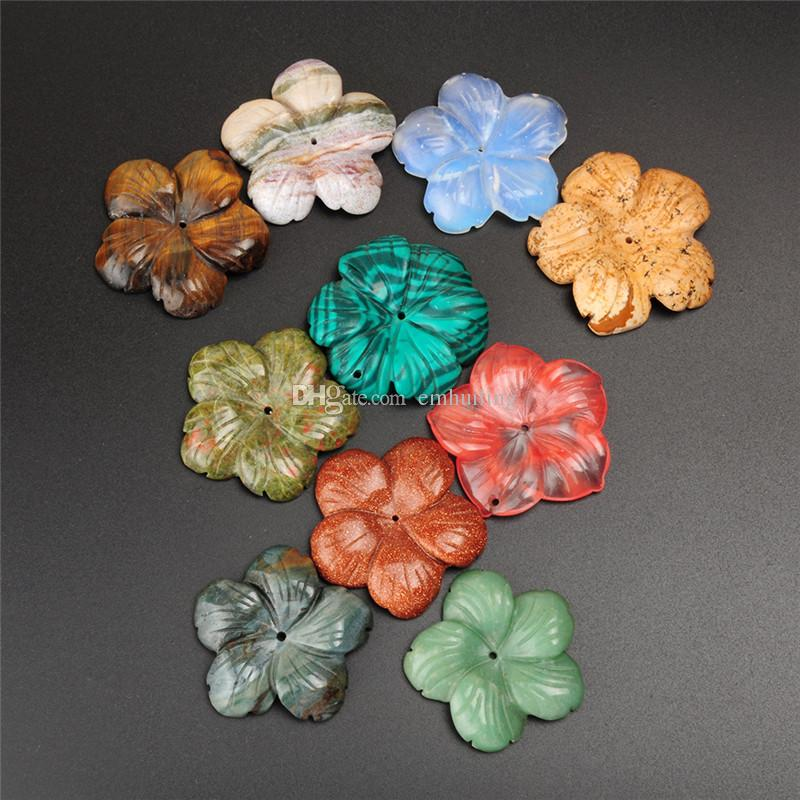 Charm Vintage Lady Multi-style Nature Crystal Snowflake Mixed Color Jasper Agate Jade Drilled Hole Flower Pendant Jewelry for Women New Year