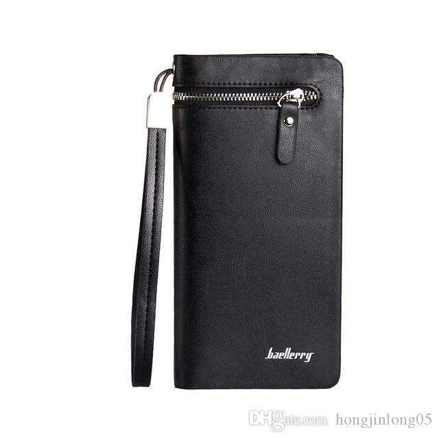 남성용 롱 비즈니스 지갑 다기능 핸드 클라우스 패키지 지퍼 대용량 신용 카드 수납 지갑 지갑 무료 배송