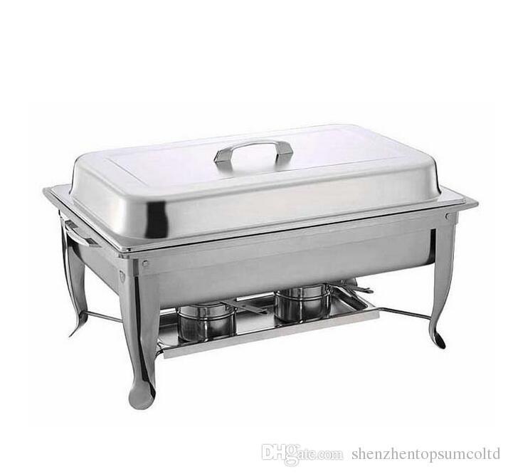 Frete Grátis Atacado 4 Conjunto de Aço Inoxidável Dobrável Buffet Chafing Dish Set