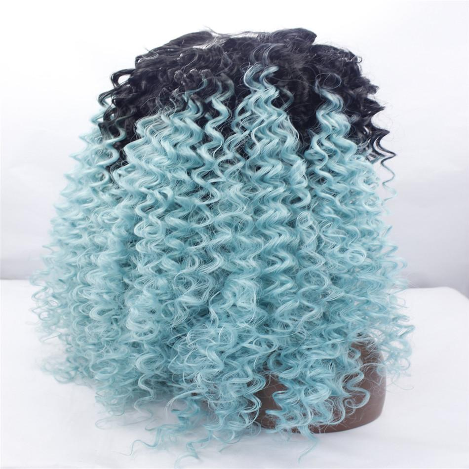 lace front wigs Curly hair best quality synthetic hair wig two-tone black/blue, wavy black woman Curly hair lace front American hot products