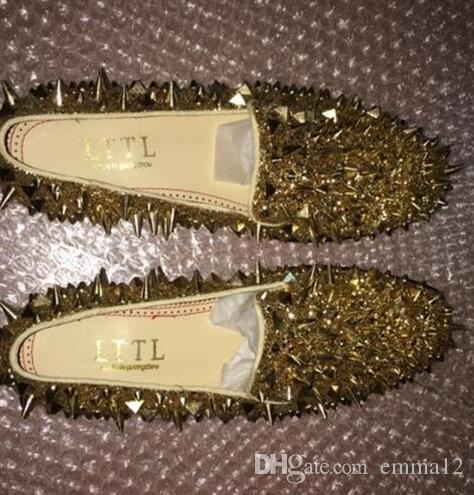 LTTL Nuovi uomini shinny glitter oro argento verde blu spikes scarpe slip on mocassini rivetti scarpe casual da uomo Party And Prom Shoes