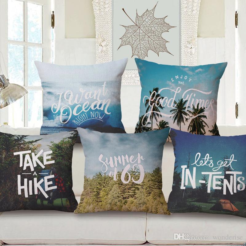 5 Estilos verão das épocas arte capas de almofada Montanha madeiras Palmeira Caminhada Tent capa de almofada do sofá Lance decorativa fronha de linho