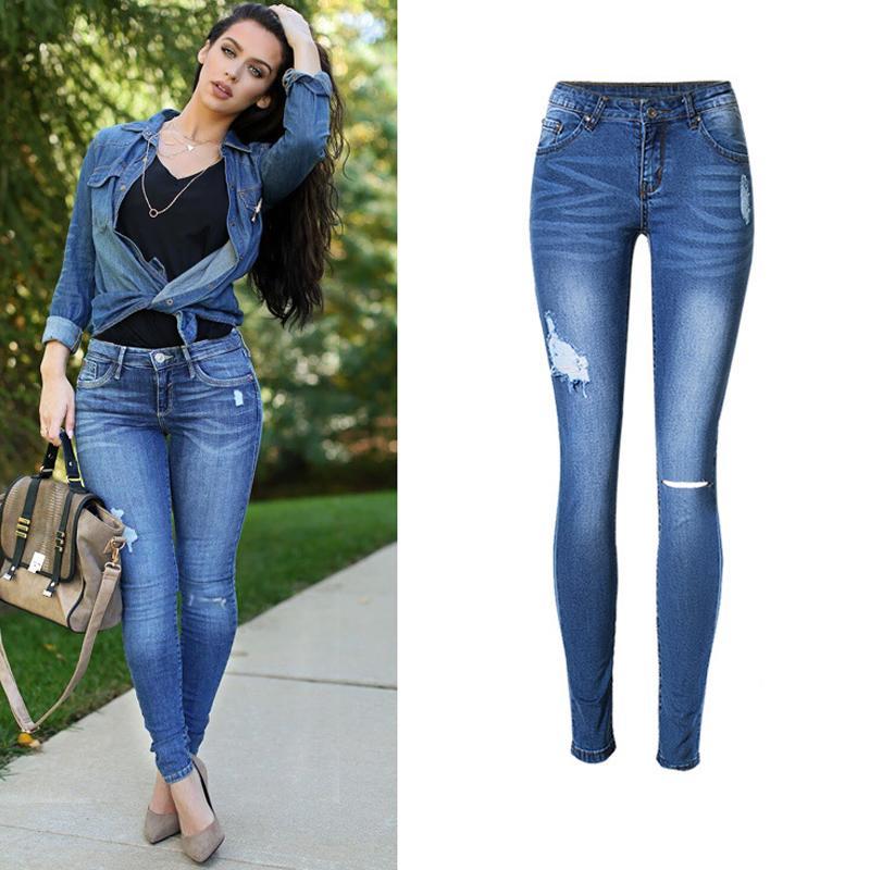 7b5d5f16 Venta al por mayor-2017 Jeans mujer Vintage agujero sexy mujeres de cintura  baja lápiz Jeans Femme más pantalones vaqueros flacos de tamaño ...