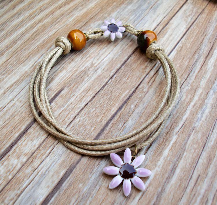 Women's fashion Handmade Weave Hide Rope Daisy Flower Elegant Sweet Cute Ceramic Charm Bracelets Gril Gifts mixed /