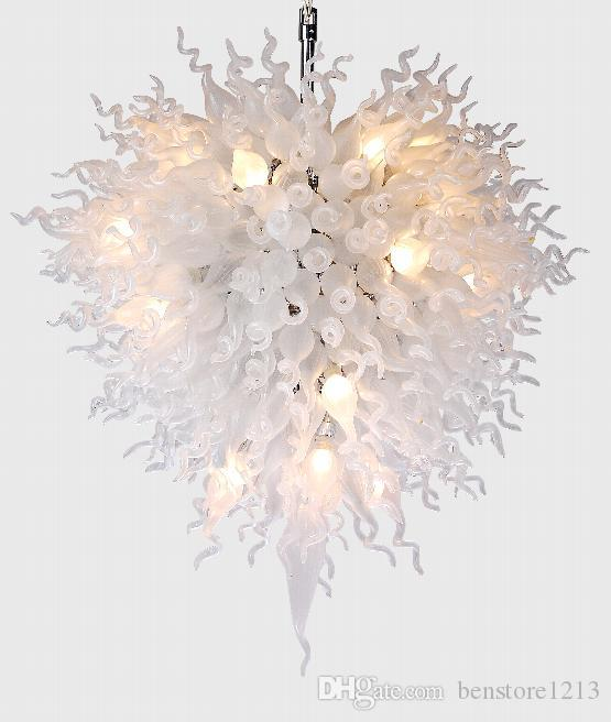 Contemporary White Color Glass LED Chandeliers Light Fixture High Quality Style Large Big Blown Glass Crystal Chandelier