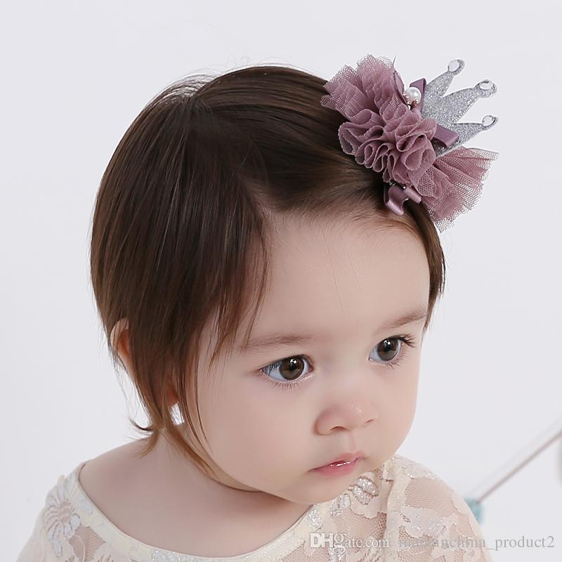 bae82ac6036 Kids Girl Flower Princess Crown Hairpins For Newborns Baby Hair Clip  Barrettes Hair Accessories Kids Hair Ornaments Make Baby Hair Accessories  Long Hair ...