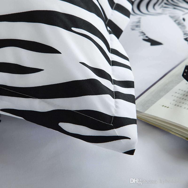 Cartoon Zebra Bedding Set Black White Duvet Cover Bed Set Single Double Queen King Size Kids Bed Sheets Bedlinens