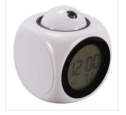 Free DHL Favor Xp New Super Dimensional Sound Controlled Clock Alarm Projector LED Back Light Projection Clock
