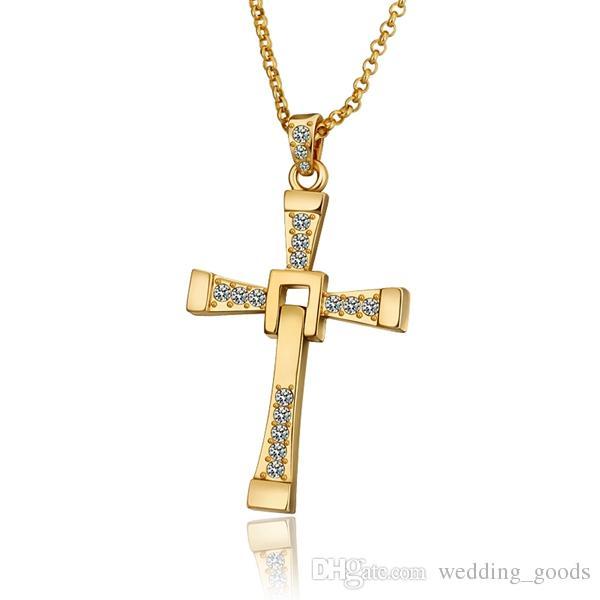 高品質メンズクロス18KゴールドジュエリーペンダントネックレスWGN703、チェーン付き++イエローゴールドホワイト宝石ネックレス