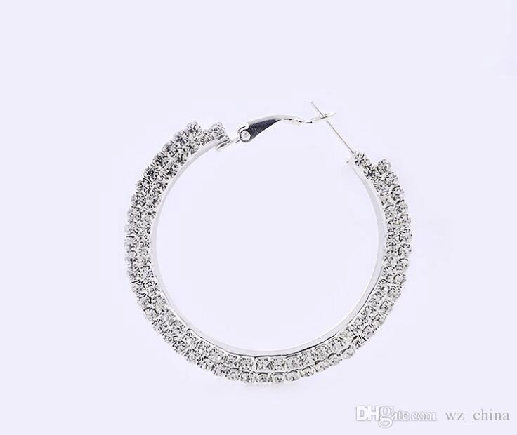 실버 도금 후프 귀걸이 실버 색상 체코어 다이아몬드 큰 후프 귀걸이 농구 아내 여성을위한 귀걸이 좋은 품질 패션 쥬얼리