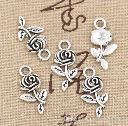 Tibetan Silver Rose Flower Charms Pendant for Jewlery Making Bracelet 21mm