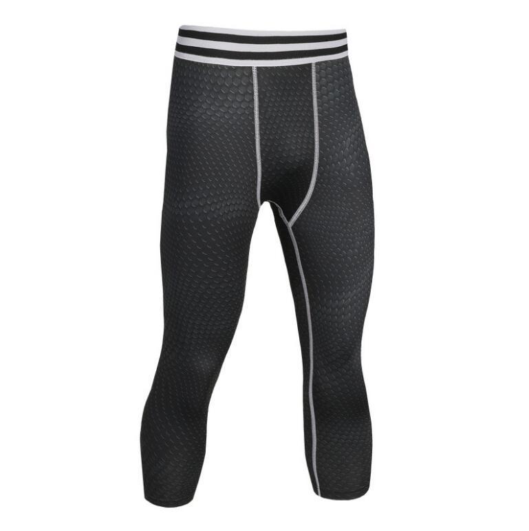Men Pro Compress Quick Dry Cropped Run 3/4 Tight Pant Train Bodybuilding Legging Yoga Gym Exercise Fitness Workout Sport