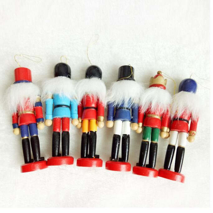 Wedding Nutcracker Puppet Zakka Creative Desktop Decoration 12.2cm Wood Made Christmas Ornaments Drawing Walnuts Soldiers Band Dolls