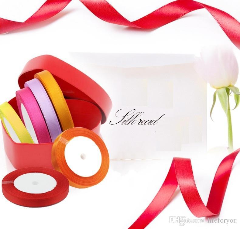 Hochzeit Dekorationen Mittelstücke Hochzeit liefert Geburtstagsparty begünstigt Satinband Bogen für Hochzeit Zubehör Geschenk Verpackung 1,5 cm * 25Y