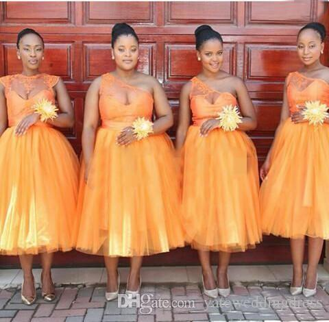 09f27234797 Two Style Short Bridesmaid Dresses Jewel One Shoulder Homecoming Dresses  Africa Orange A Line Tea Length Custom Made Cocktail Gowns Cheap Deep Purple  ...