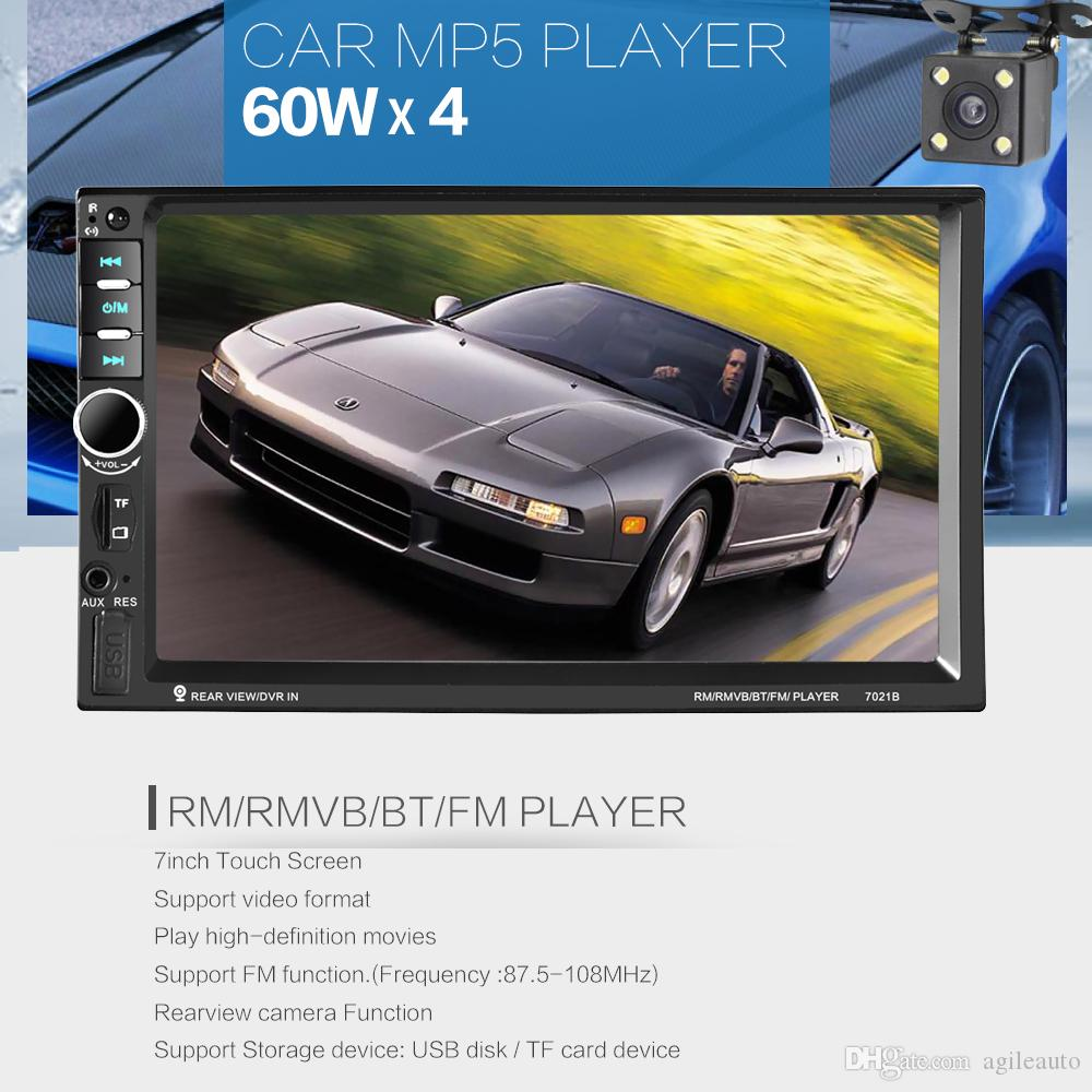 DHL ! 2 DIN 7 Inch Touch Screen Car Stereo MP5 Radio Player Bluetooth FM TF USB SD Support Steering Wheel Control CMO_21T