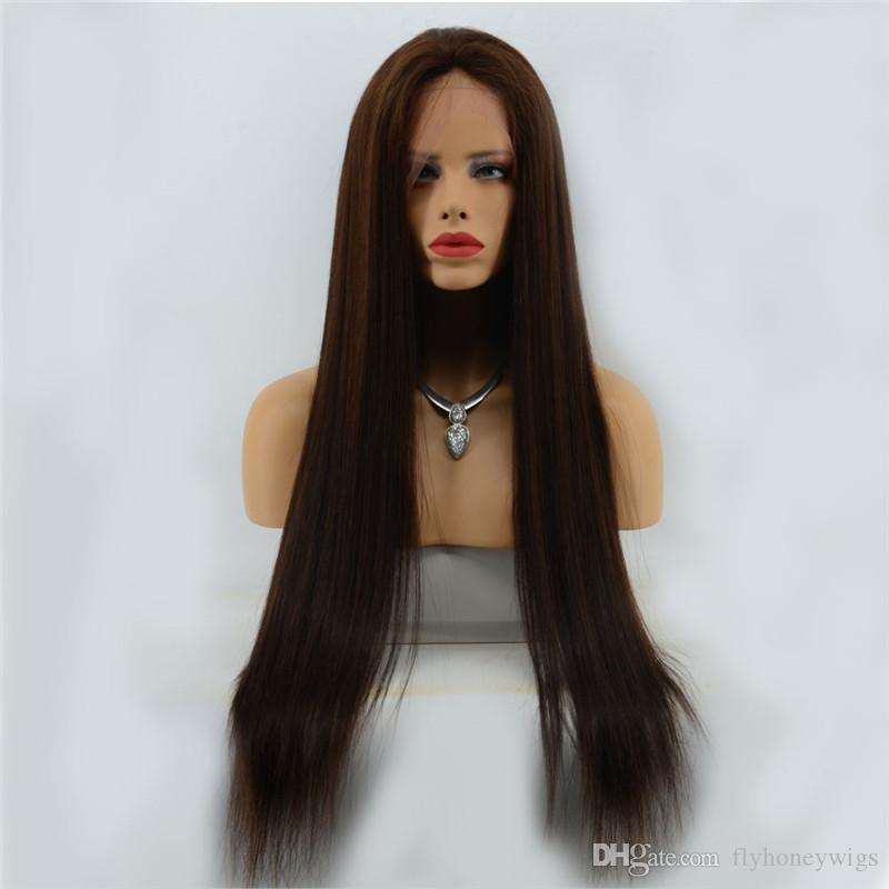100% Indian Virgin Human Hair Lace Front Wigs Color 3# Silky Straight Full Lace Wigs With Baby Hair Free Part