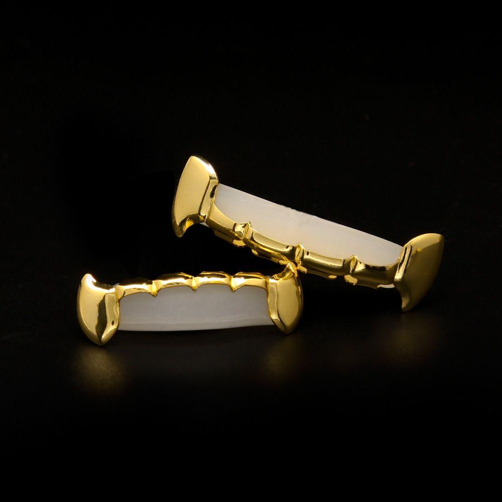 La más nueva estrella chapada en oro real de 18 quilates con dinero Iced Out HipHop Teeth Grillz Top Bottom Halloween Christmas Party Gift