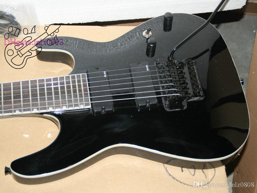 Custom Shop Black 7 Strings Electric Guitar one piece neck Very Beauty Tremolo device 7 String Guitars