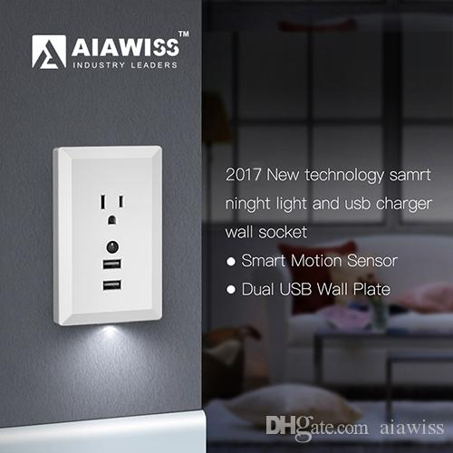 Aiawiss led night light with automatic dusk to dawn sensor and 5v aiawiss led night light with automatic dusk to dawn sensor and 5v 24a dual usb wall outlets chargerwall socket adapter plug white black usb wall socket aloadofball Images