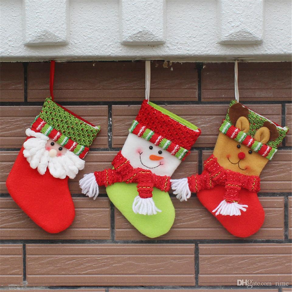 christmas decorations stocking gift bags small christmas socks high 195cm hot sale christmas tree decoration christmas deco christmas decor from rime - Small Christmas Decorations