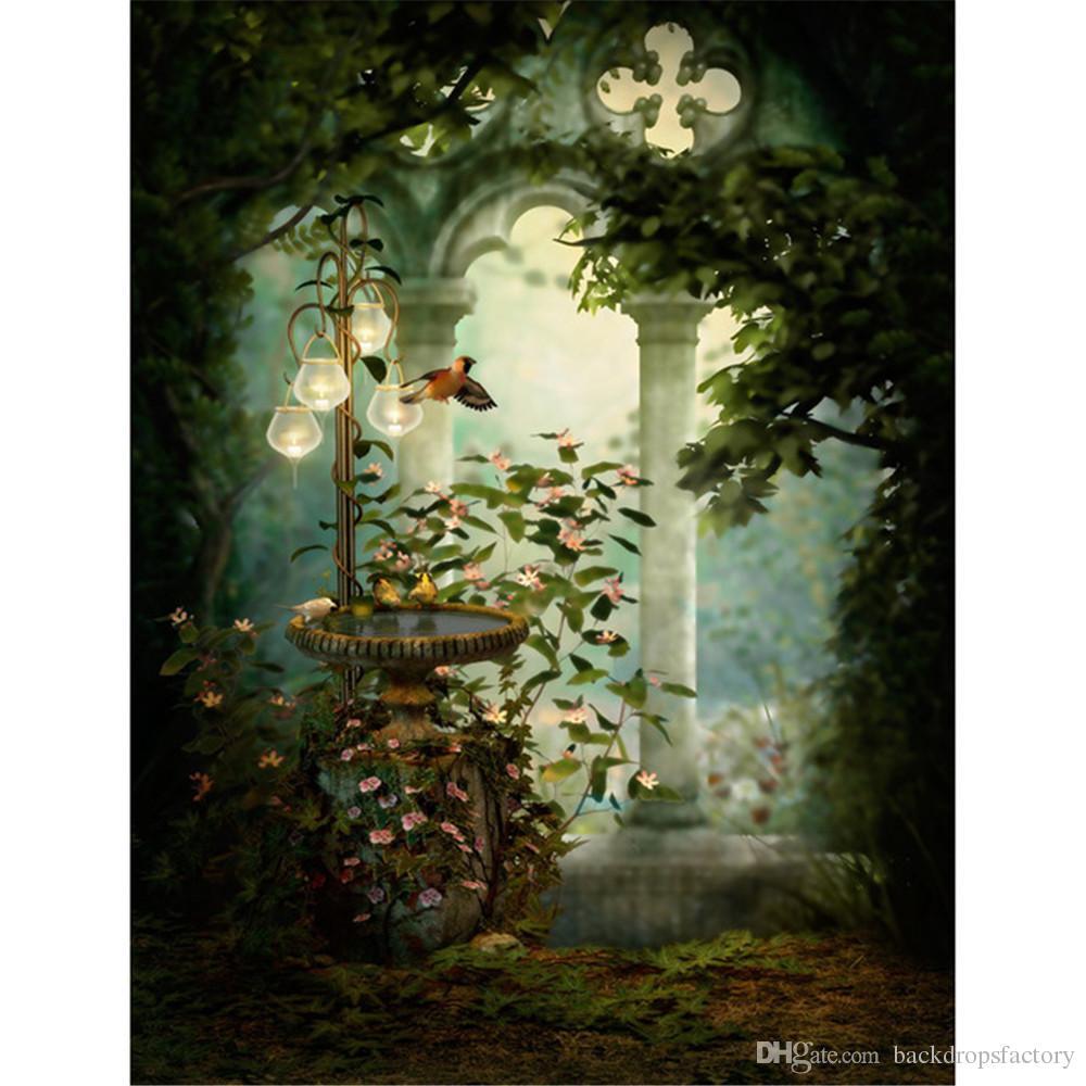 2019 Vintage Castle Garden Photography Backdrop Stone