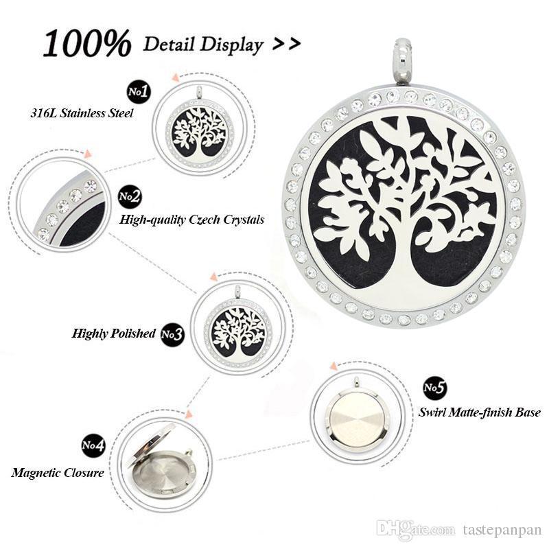 bijoux Panpan! 30mm argent parfum acier inoxydable 316L collier pendentif diffuseur huile essentielle aromathérapie Pendentif Médaillon
