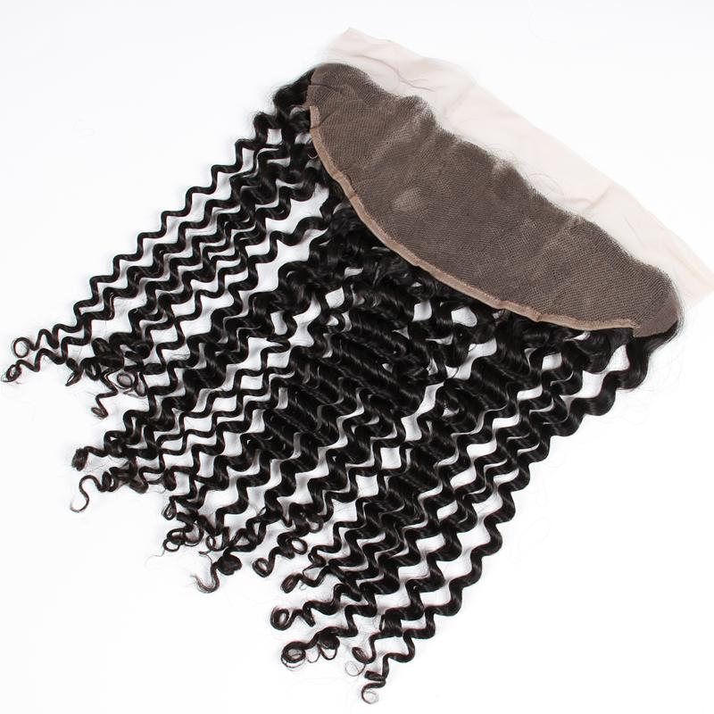 Virgin Peruvian Hair Deep Curly Ear To Ear Lace Frontal Closure 13*4 Free Middle 3 Way Part 8A Grade Unprocessed Human Hair