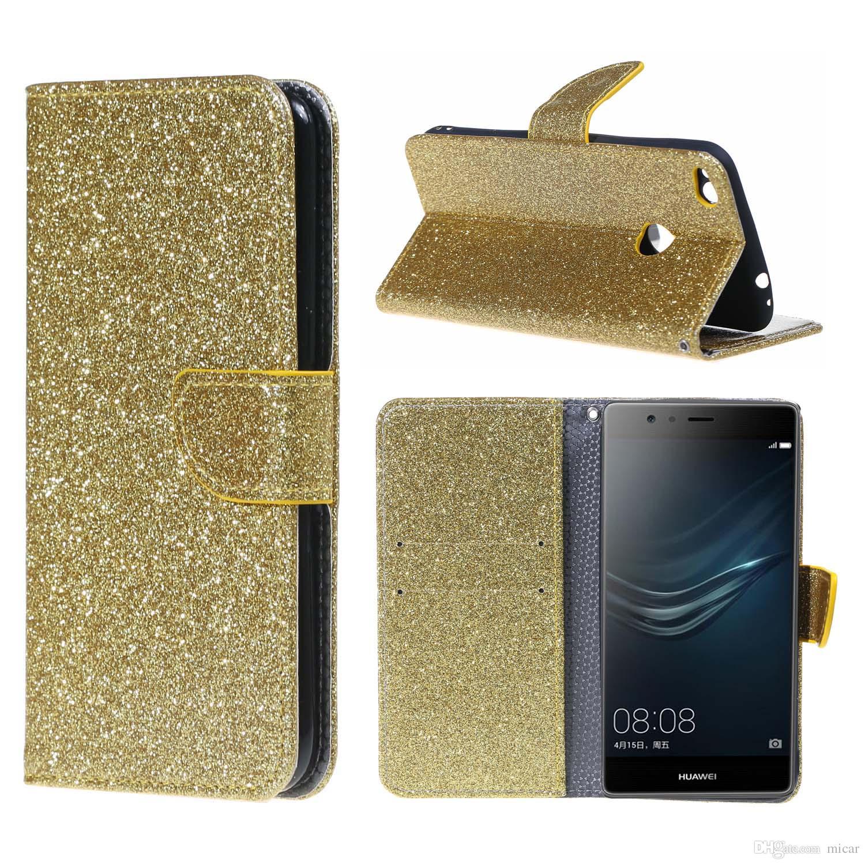 vendita calda online 6a6c5 b306b Luxury Bling Glitter Caso della copertura di cuoio di vibrazione per Huawei  P8 lite 2017 P10 Lite Nova Coque Brillante Caso Del Telefono Mobile Case ...