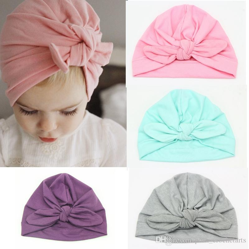 Cute Knot Baby Hat Cotton Baby Turban Knotted Turban Newborn Hats Solid  Color Caps And Hats For Babies And Toddlers Fall 2017 UK 2019 From  Posh crochetarts fdd49f1de64
