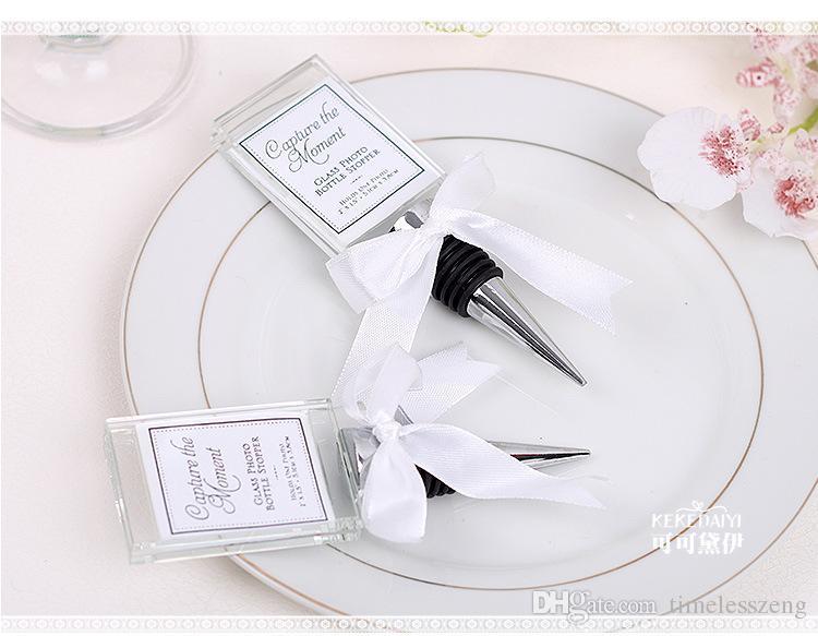 Crystal Photo Frame Bottle Stopper Wine Stopper Photo Frames Place Card Holder Wedding Party Gift Favors Bridal Shower