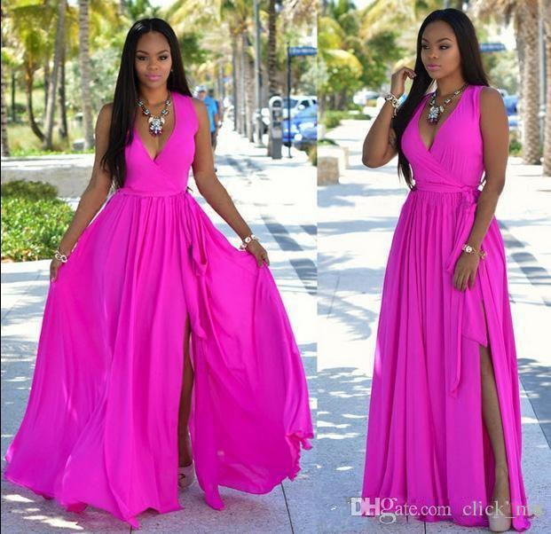 0c735e1fba6 Hot Pink Deep V Neck Prom Dresses With Sash Chiffon Side Split Cheap Party  Dress Sleeveless A Line Plus Size Bridesmaid Dress Long Cheap Uk Prom  Dresses ...