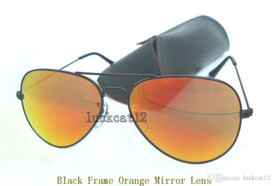 Occhiali da sole colorati da donna di alta qualità Occhiali da sole pilota Occhiali da sole con montatura in oro Flash Occhiali da sole con lenti a specchio viola 58MM 62MM con custodia nera