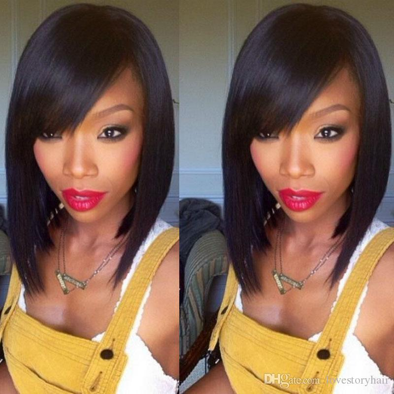 Straight Side Part 130% Density Wholesale Brazilian Short Bob Silk Base Full Lace Human Hair Wigs For African American